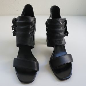 Zara Black leather chunky heel sandal heels
